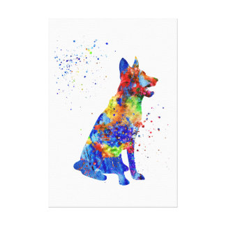 German Shepherd, watercolor German Shepherd Canvas Print