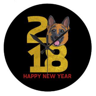 German shepherd Year of the Dog 2018 New Year Large Clock