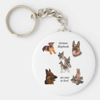 GERMAN SHEPHERDS ARE EASY TO LOVE! BASIC ROUND BUTTON KEYCHAIN