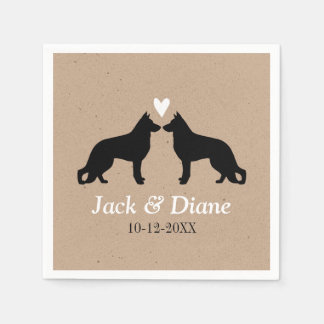 German Shepherds Wedding Couple with Custom Text Disposable Napkins