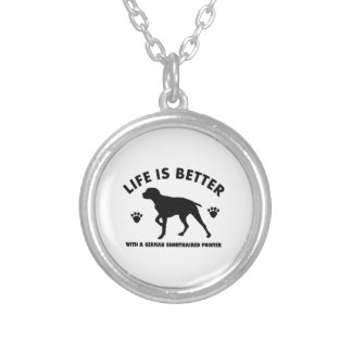 german short haired point dog design silver plated necklace