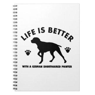 german short haired point dog design spiral notebook