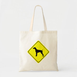 German short-Haired Pointer Dog Crossing Sign Canvas Bags