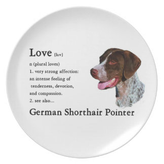 German Shorthaired Pointer Art Love Is Party Plates