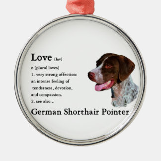 German Shorthaired Pointer Art Love Is Silver-Colored Round Ornament