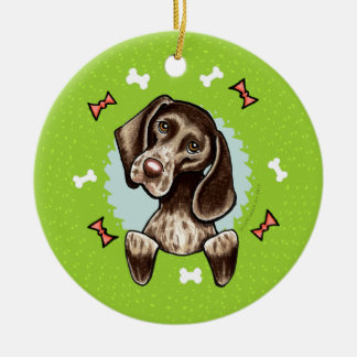 German Shorthaired Pointer Christmas Wreath Round Ceramic Ornament