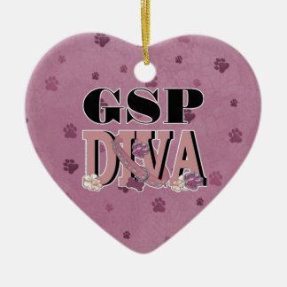 German Shorthaired Pointer DIVA Ceramic Heart Ornament
