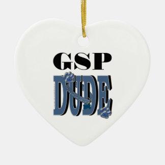 German Shorthaired Pointer DUDE Ceramic Heart Ornament