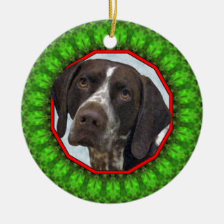German Shorthaired Pointer Happy Howliday Round Ceramic Ornament