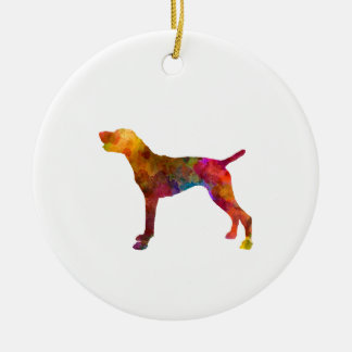 German Shorthaired Pointer in watercolor Round Ceramic Ornament