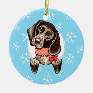 German Shorthaired Pointer Let it Snow Round Ceramic Ornament
