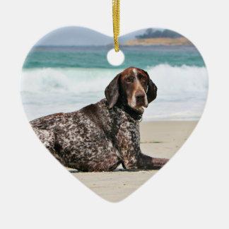 German Shorthaired Pointer - Luke - Riley Ceramic Heart Ornament