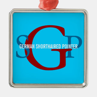 German Shorthaired Pointer Monogram Design Silver-Colored Square Ornament