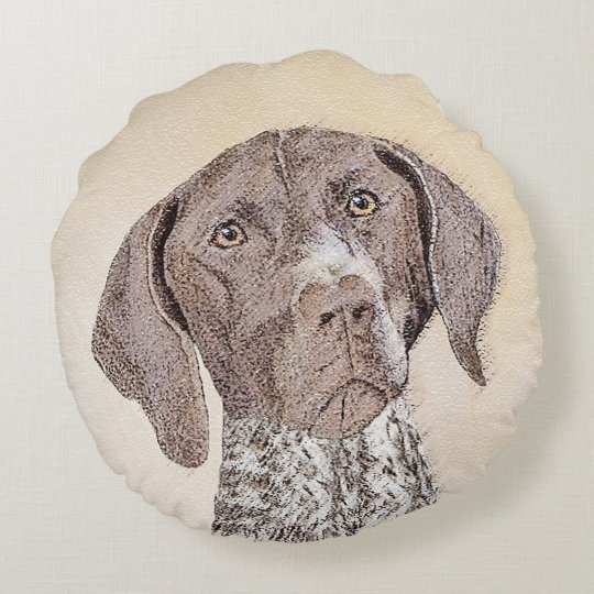 German Shorthaired Pointer Painting - Dog Art Round Pillow