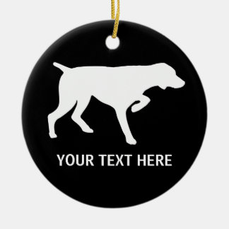 German Shorthaired Pointer silhouette Round Ceramic Ornament