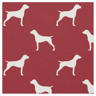 German Shorthaired Pointer Silhouettes Pattern Red Fabric