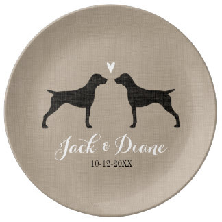 German Shorthaired Pointer Silhouettes with Heart Porcelain Plate
