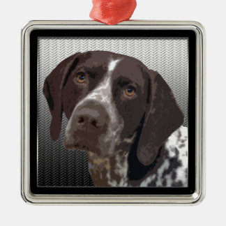 German Shorthaired Pointer Silver-Colored Square Ornament