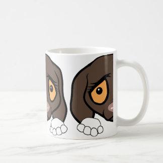 german shorthaired pointer white and liver peeking coffee mug