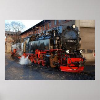 German Steam Locomotive Poster