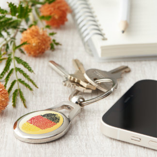 German touch fingerprint flag Silver-Colored oval keychain