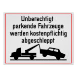 German Tow-Away Zone Sign