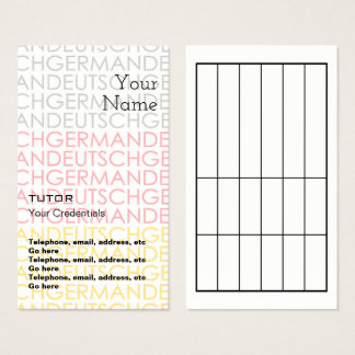 German Tutor Appointment Business Cards