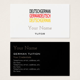 German Tutor Business Cards