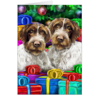 German WH Pointer Open Gifts Christmas Card