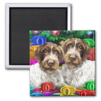 German WH Pointer Open Gifts Christmas Square Magnet
