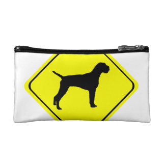 German Wired-Haired Pointer Dog Crossing Sign Makeup Bags