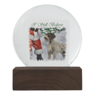 German Wirehaired Pointer Believe Christmas Snow Globe