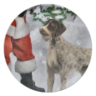 German Wirehaired Pointer Christmas Party Plates