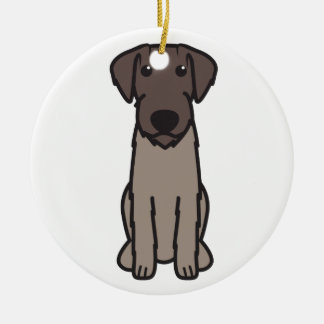 German Wirehaired Pointer Dog Cartoon Ceramic Ornament
