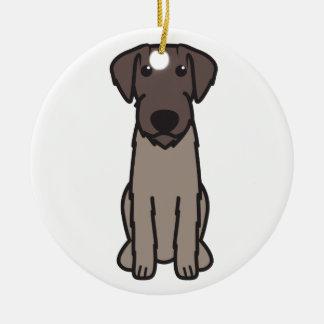 German Wirehaired Pointer Dog Cartoon Round Ceramic Ornament