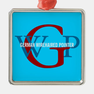 German Wirehaired Pointer Monogram Silver-Colored Square Ornament