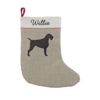 German Wirehaired Pointer Silhouette with Text Small Christmas Stocking