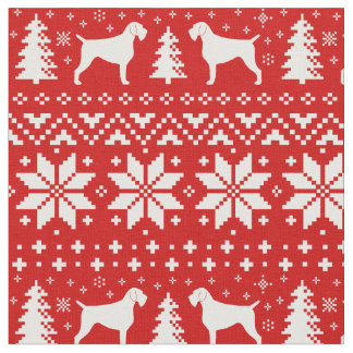 German Wirehaired Pointer Silhouettes Christmas Fabric
