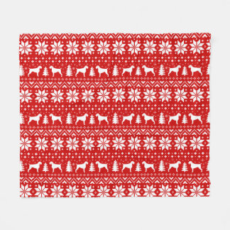 German Wirehaired Pointer Silhouettes Christmas Fleece Blanket