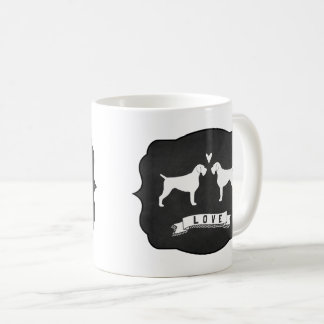 German Wirehaired Pointer Silhouettes Love Coffee Mug