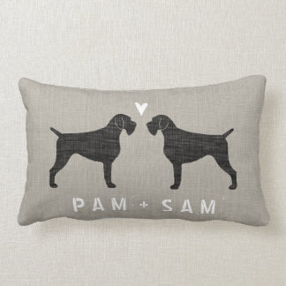 German Wirehaired Pointer Silhouettes Love Lumbar Pillow