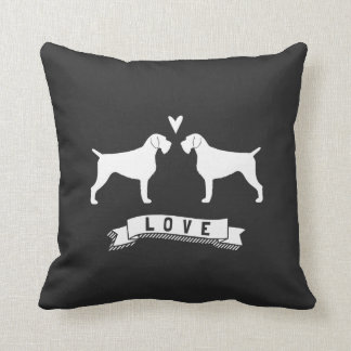German Wirehaired Pointer Silhouettes Love Throw Pillow