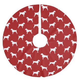 German Wirehaired Pointer Silhouettes Pattern Red Brushed Polyester Tree Skirt