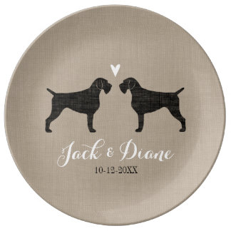 German Wirehaired Pointer Silhouettes with Heart Plate