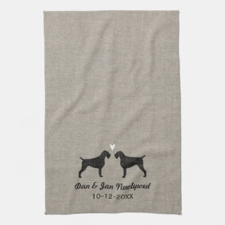 German Wirehaired Pointer Silhouettes with Heart Towels
