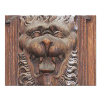 "German WOOD CARVING - LION Medieval architecture 4.25"" X 5.5"" Invitation Card"