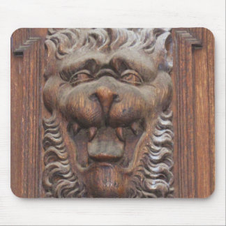 German WOOD CARVING - LION Medieval architecture Mouse Pad