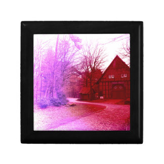 german wooden town house in forest red tint gift box