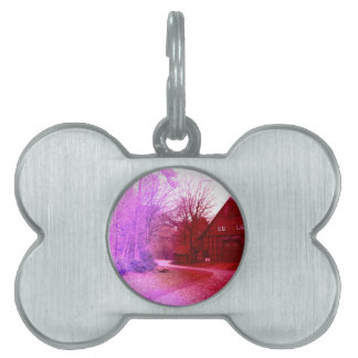 german wooden town house in forest red tint pet tags