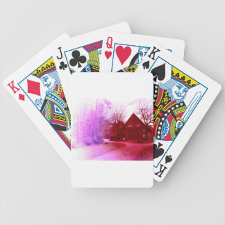 german wooden town house in forest red tint poker deck